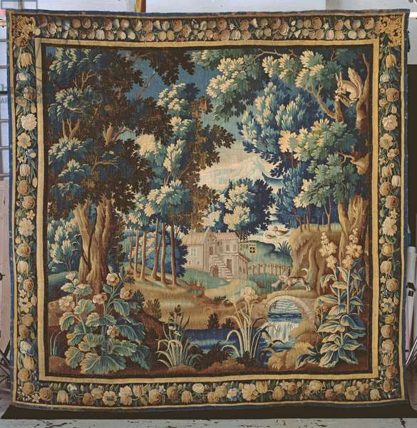 Verdure tapestry with border, woven in Aubusson, c.1650 (wool & silk)