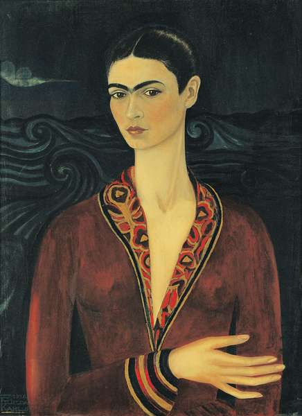 Self Portrait with Velvet Dress, 1926 (oil on canvas)