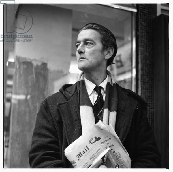 Portrait of man of unknown details, standing on Berwick Street Soho London, possibly 1962 (b/w photo)