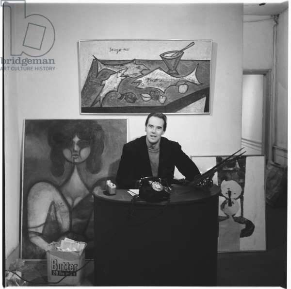 Victor Musgrave (1919-84) British poet, art dealer and curator, in 'Gallery One', Mayfair, London, UK, mid 1950's (b/w photo)