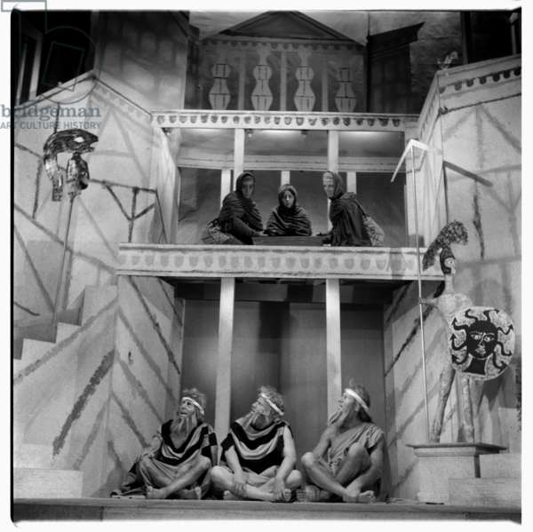 Lysistrata at National Theatre, images from a production of classic Greek play Lysistrata directed by Milos Volonakis starring Joan Greenwood, London 1966