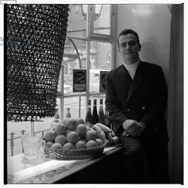 Alvaro Maccioni, portrait of Alvaro Maccioni, manager of La Trattoria Terrazza - first great restaurant of modern era, in Soho London early 1960's (b/w photo)