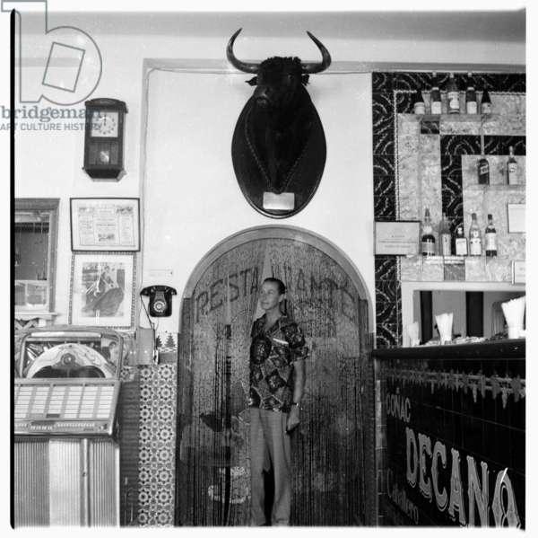 Unknown man, Dean's Bar, Tangier, early 1960's (b/w photo)