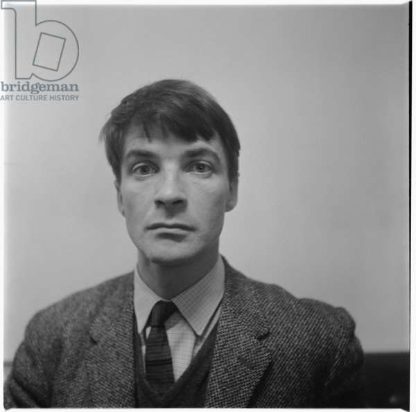 Oliver Bernard, portrait of poet and Rimbaud translator, and brother of Jeffrey and Bruce, London, UK, mid 1950's (b/w photo)