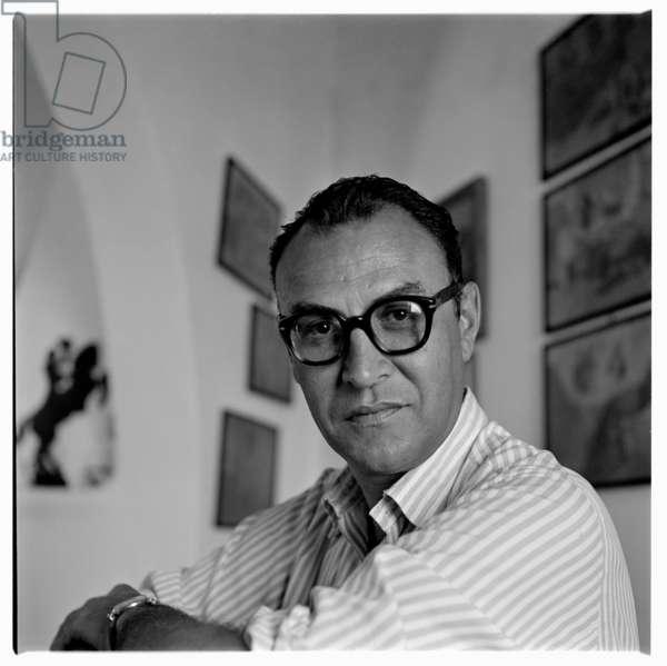 Dado, portrait of Montenegrin born artist Dado in France early 1960's (b/w photo)