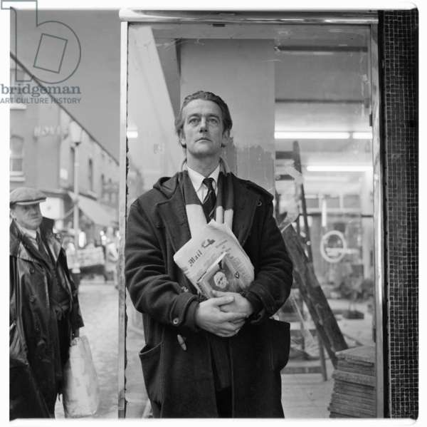 Portrait of man of unknown details, standing on Berwick Street Soho London, possibly 1962 (b/w photo)