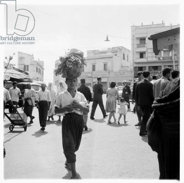 Street life in Tangier, early 1960's (b/w photo)
