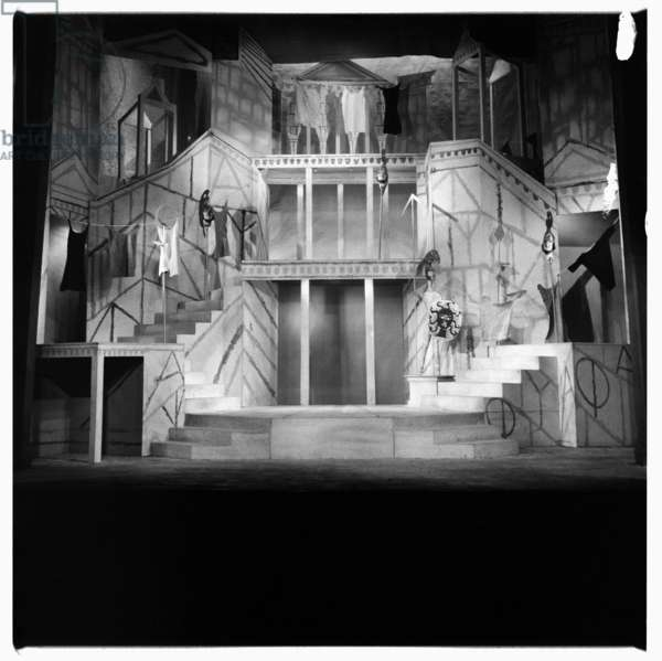 Lysistrata at National Theatre, images from a production of classic Greek play Lysistrata directed by Milos Volonakis starring Joan Greenwood, London 1960