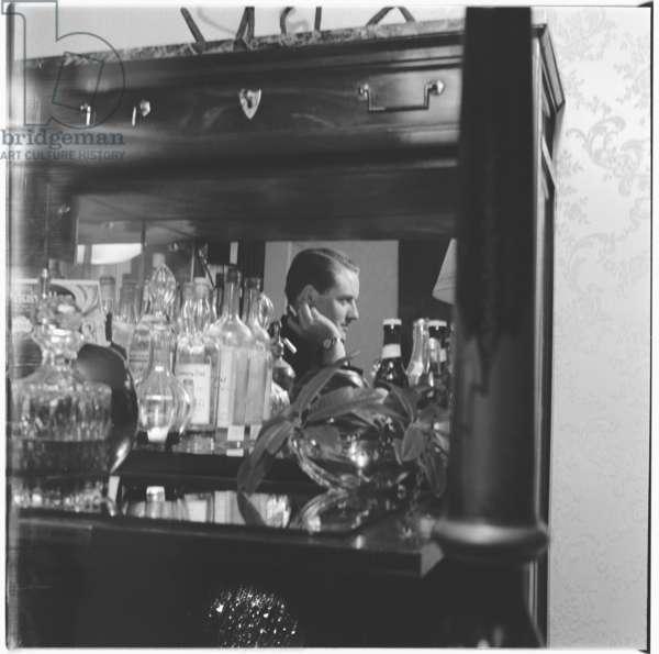 Tony Hubbard, portrait of Woolworths heir, socialite and Soho habitue, husband of Liz Odel, London, UK, mid 1950's (b/w photo)