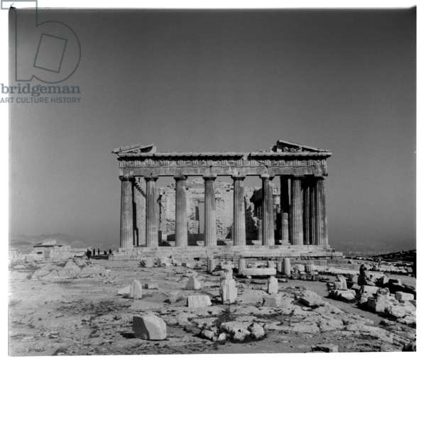 Image of the Acropolis of Athens, empty of people, early morning, Greece, early early 1950's