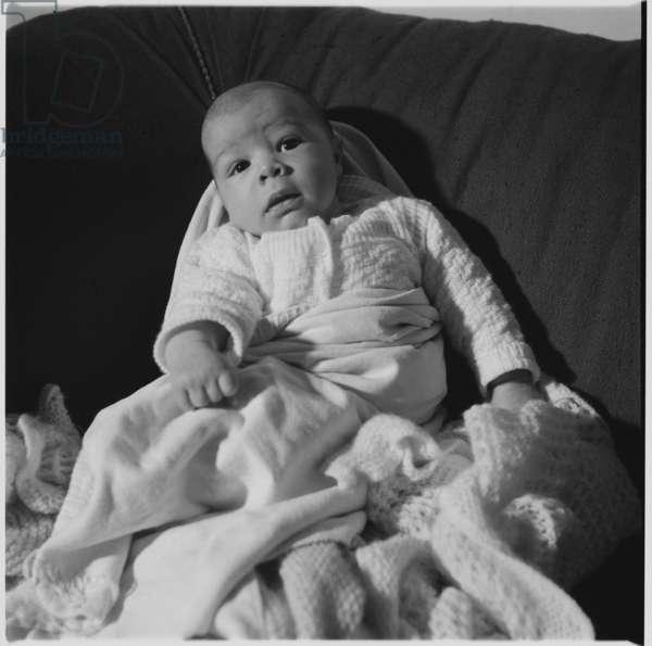 Geoff and Gwen Dove's newborn baby, c.1955 (b/w photo)