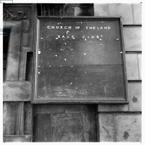 London, CofE, image from a walk round London 1957, showing a Church of England sign, London 1957
