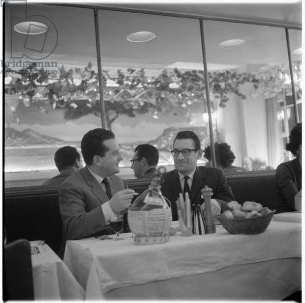 Franco & Mario, portrait of Mario Cassandro and Franco Lagattolla, owners of La Trattoria Terrazza in Romilly Street Soho, London, UK, mid 1950's (b/w photo)