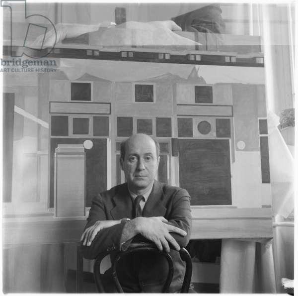 Yannis Tsarouchis, portrait of Greek painter, Greece, mid 1950's (b/w photo)