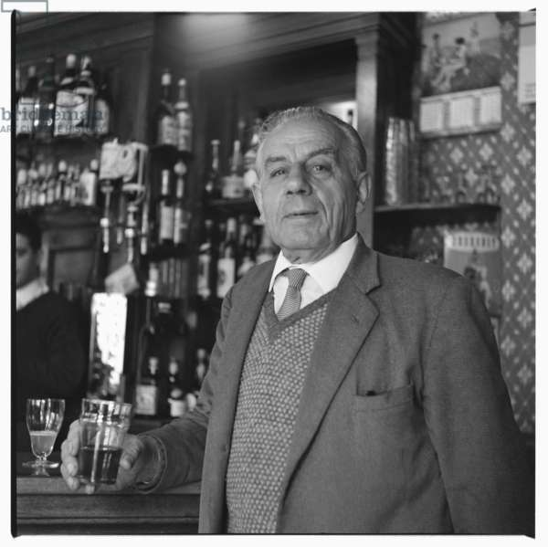 Salami, portrait of a Soho character named Salami in a bar, London, UK, mid 1950's (b/w photo)
