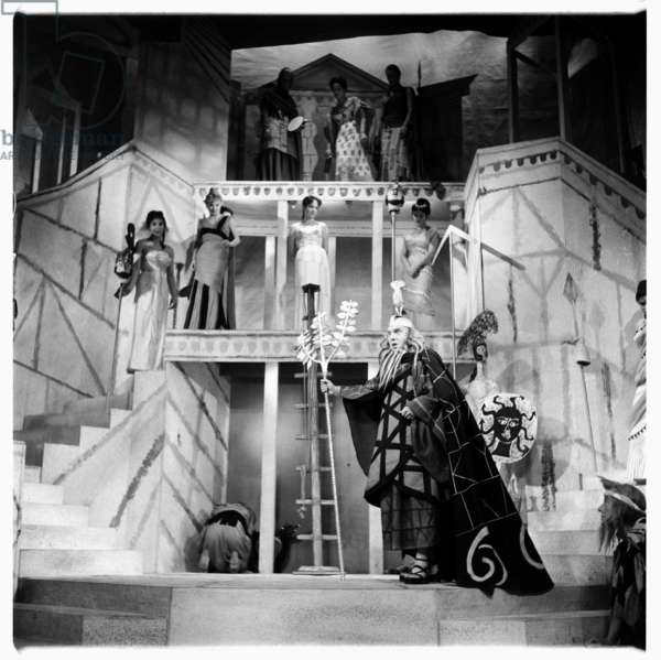 Lysistrata at National Theatre, images from a production of classic Greek play Lysistrata directed by Milos Volonakis starring Joan Greenwood, London 1977