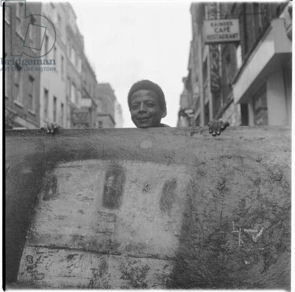 Hussein Shariffe, portrait of Sudan born artist and filmmaker, also photographed by Ida Kar, Soho, London, UK, mid 1950's (b/w photo)