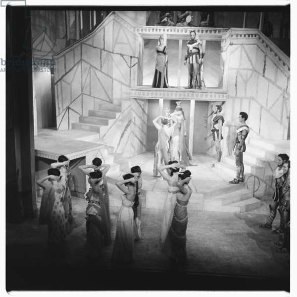 Lysistrata at National Theatre, images from a production of classic Greek play Lysistrata directed by Milos Volonakis starring Joan Greenwood, London 1962