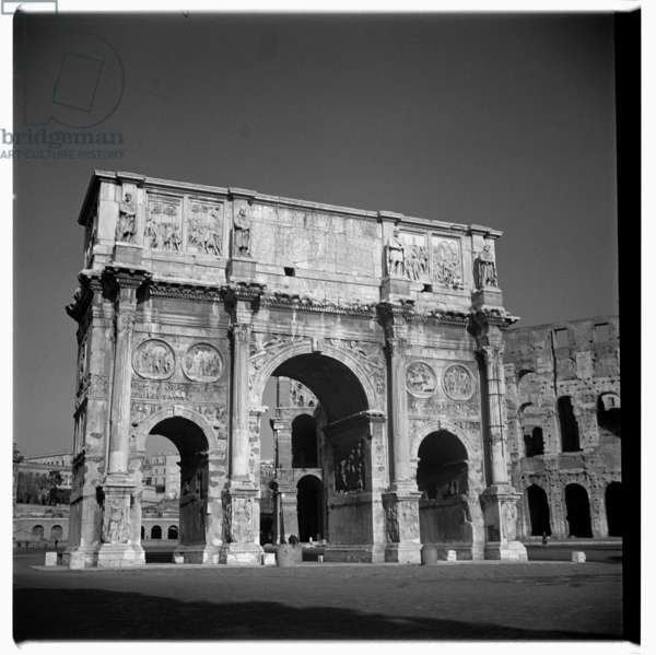 Image of the Arch of Constantine, triumphal arch, Rome., early 1950's