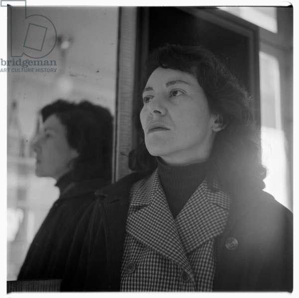 Unknown Woman, portrait of unknown woman, Paris France mid 1950's (b/w photo)