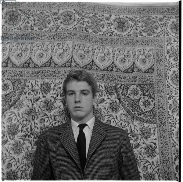 Nicky Haslam, portrait of socialite and interior designer, London, UK, mid 1950's (b/w photo)