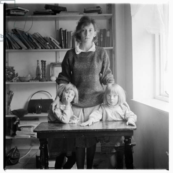 Janet Behrens with her children, c.1960 (b/w photo)