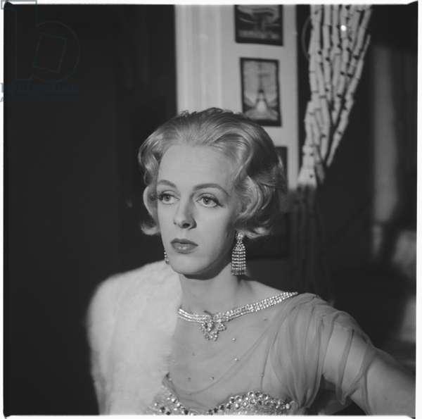 Colin, portrait of a drag artist, Soho, London, UK, mid 1950's (b/w photo)