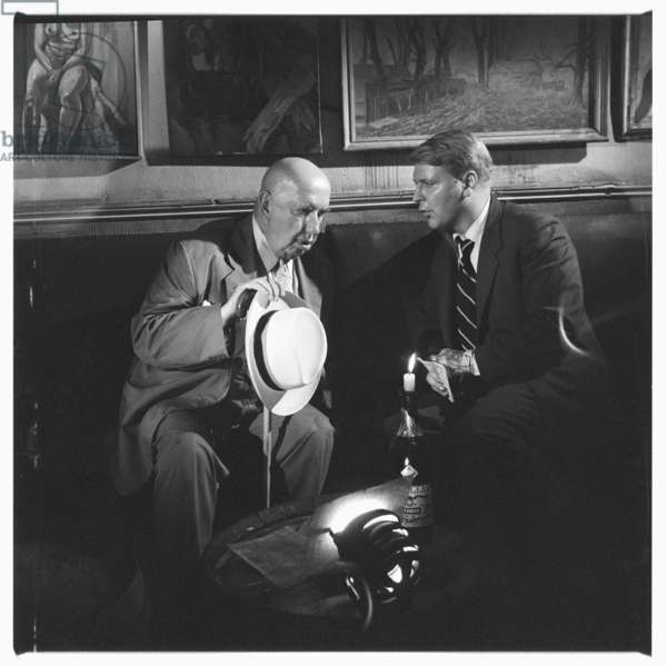 Gerald Hamilton, portrait of dubious character Gerald Hamilton, model for Mr Norris in Christopher Isherwood novel, in French House pub, Soho London early 1960's (b/w photo)