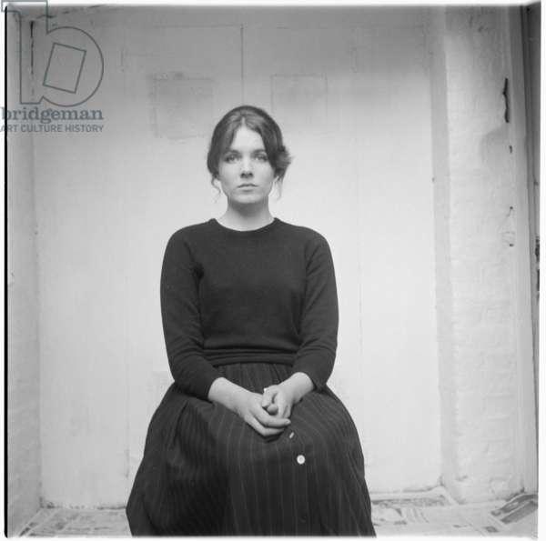 Georgina Barker, portrait of daughter of poet Frank Barker and writer Elizabeth Smart, mid 1950's, London (b/w photo)