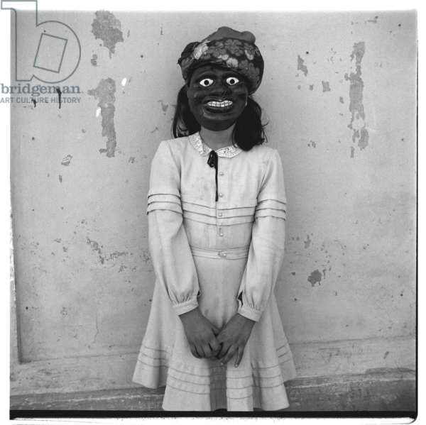 Portrait of unknown masked girl, perhaps a performer, Paris, early early 1950's