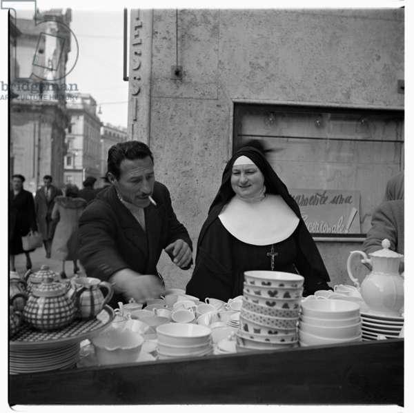 Nun in Rome, early 1950s (b/w photo)