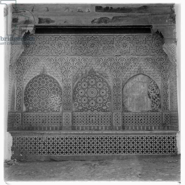 Beautifully decorated stone wall, Tangier, early 1960's (b/w photo)