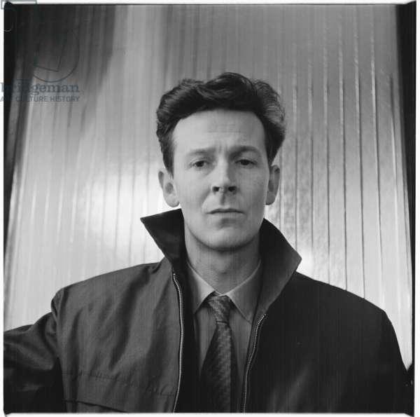 Michael Andrews, portrait of British artist, Soho, London, UK, mid 1950's (b/w photo)