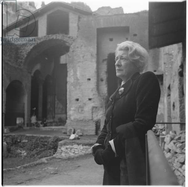 Janet Flanner, portrait of American writer and journalist who served as the Paris correspondent of The New Yorker magazine, Paris, mid 1950's (b/w photo)