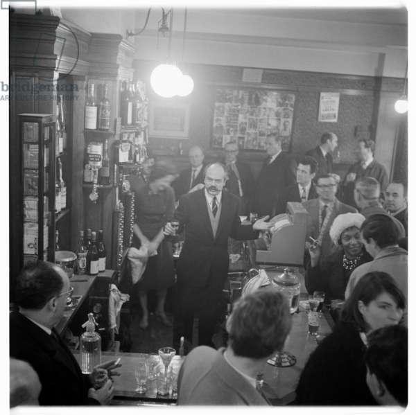 Gaston Berlemont, portrait of proprietor of The French House pub, Soho, London, UK, 1950's, mid 1950's (b/w photo)