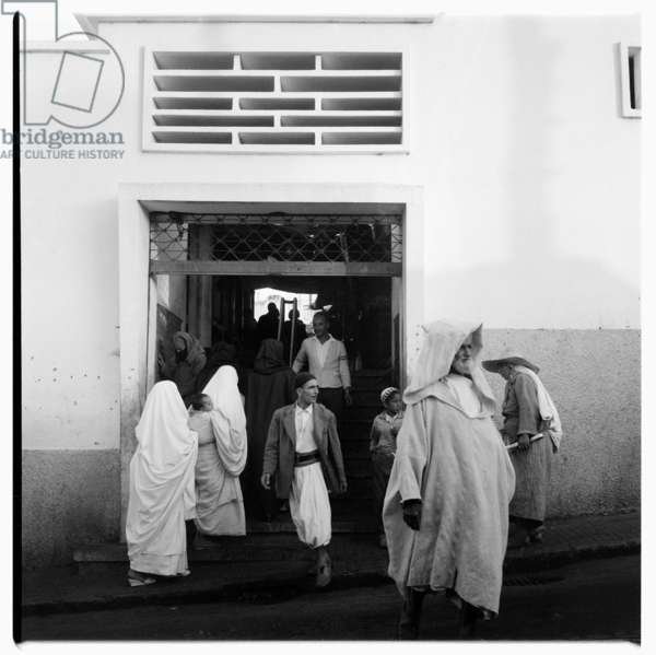 Group of people, Tangier, early 1960's (b/w photo)