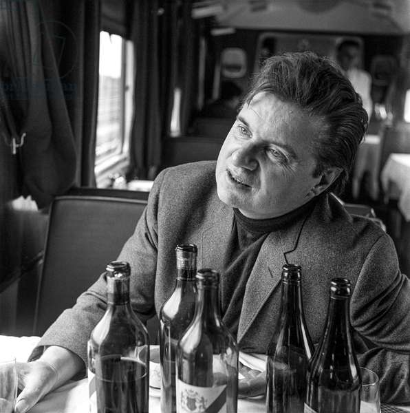 Francis Bacon on the Orient Express to Athens, 1965 (b/w photo)