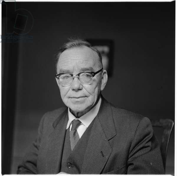 Arthur Horner, portrait of Welsh trade union leader and communist politician, mid 1950's, UK (b/w photo)