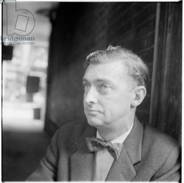 David Gascoyne, portrait of English poet associated with the Surrealist movement, mid 1950's (b/w photo)