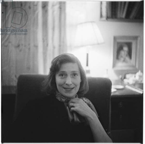 Rose McLaren, portrait of aristocrat, Soho habitue, friend of Francis Bacon and florist to Princess Margaret, mid 1950's, UK (b/w photo)