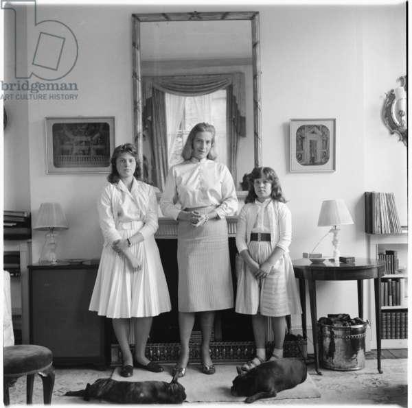 Rose McLaren & Daughters, portrait of Harriet and Victoria, daughters to Lady Rose McLaren, at home, late 1950's (b/w photo)