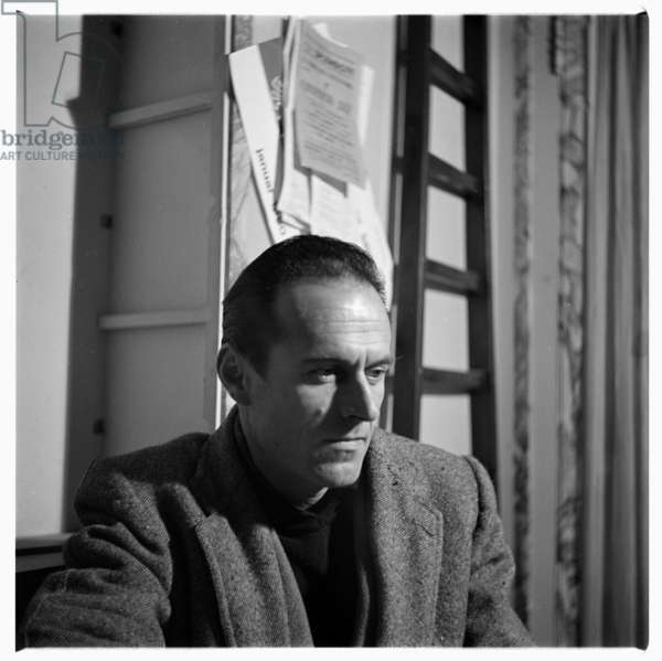 Portrait of unknown man, possibly painter artist Mario Sirone, in front of Fontana del Tritone, Rome, Italy, early early 1950's