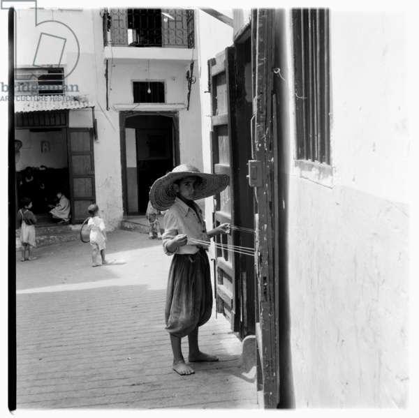Street scene, Tangier, early 1960's (b/w photo)
