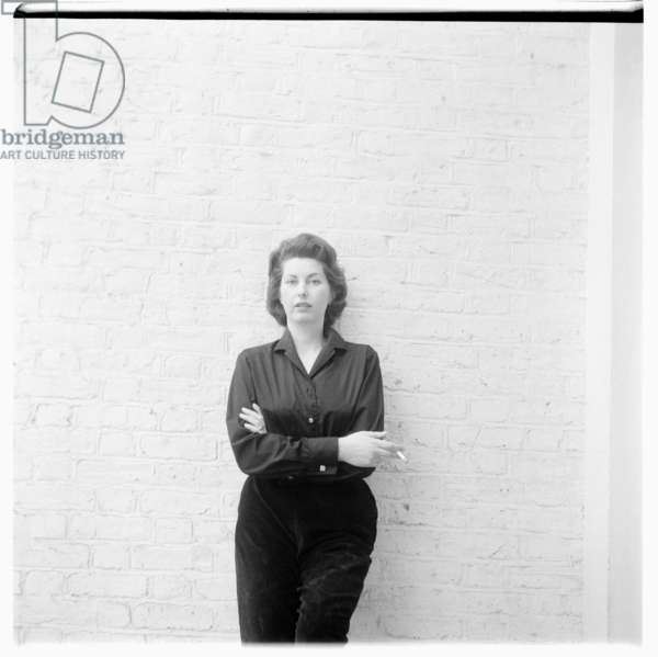 Portrait of unknown woman in London possibly associated with film director Alexander Mackendrick, London, UK, early 1960's (b/w photo)