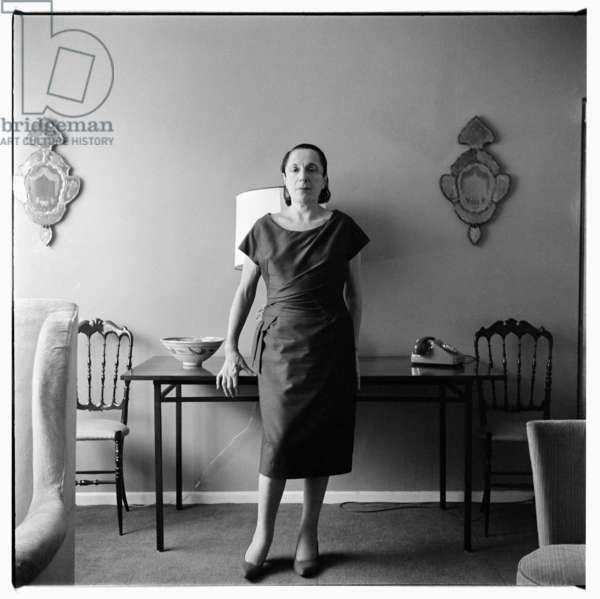 Muriel Belcher, portrait Muriel Belcher, owner manager of Colony Room drinking club, also model and muse sitting for photos used by Francis Bacon for portrait, Soho London mid 1950's (b/w photo)