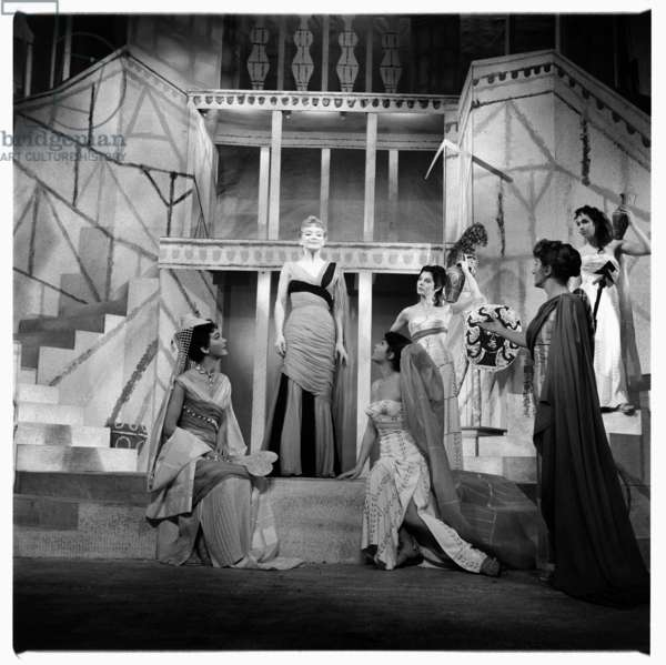 Lysistrata at National Theatre, images from a production of classic Greek play Lysistrata directed by Milos Volonakis starring Joan Greenwood, London 2015