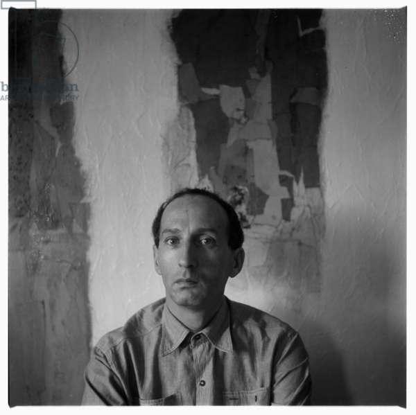 Eugenio Carmi in his studio, possibly Rome Italy, mid 1960's (b/w photo)
