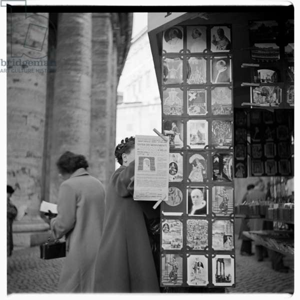 St Peter's, Vatican Book Stall, c.1953 (b/w photo)