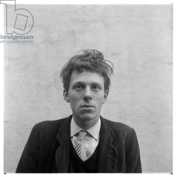 Tim Behrens, portrait of artist and friend of Francis Bacon and sitter for Lucian Freud -Timothy Behrens at home in Britain early 1960's (b/w photo)