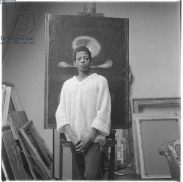 Hussein Shariffe, portrait of Sudan born artist and filmmaker, also photographed by Ida Kar, Soho, London, UK, 1962 (b/w photo)
